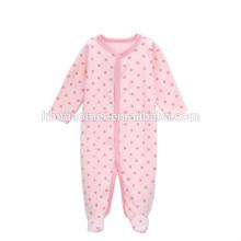 2017 baby girls mameluco del color del color rosado del punto imprimió la ropa del bebé mameluco 100% algodón al por mayor