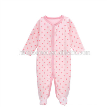 2017 baby girls romper onesie pink color dot printed baby clothes romper 100% cotton wholesale