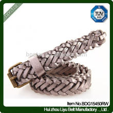 Ceinture tressée à la main, ceinture tendue élégante en cuir véritable à la mode
