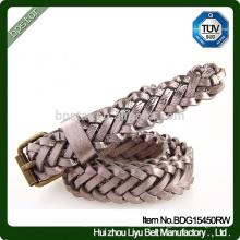 Cintura trançada feminina, moda cintura trançada de couro genuíno de couro genuíno para o vestido