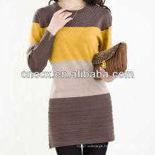 13STC5124 mulheres algodão tricô padrão camisola vestido