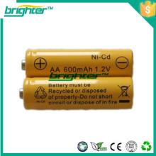 Bateria recarregável nicd da bateria do tamanho de uma bateria de tamanho aa feita na China