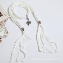 Die neue Frau reine Farbe Weiß Baumwolle Polyester Faser Farbe Schal Schal
