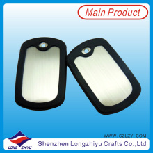 Custom Metal Blank Dog Tags with Black Rubber Silicone (LZY00133)