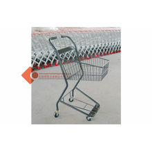 Four Wheeled Double Basket Shopping Cart Dolly With Powder Coated