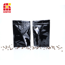 Sacs à café zip-lock en aluminium noir 16 oz avec valve