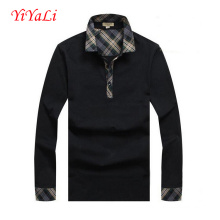 Men Lapel Neck Shirt Business T-Shirt Button Blouse