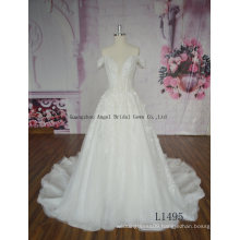 Hot Sale French Lace Tulle Long Train Wedding Gown