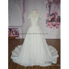 Горячая Распродажа Французский Кружевной Тюль Длинный Поезд Свадебное Платье