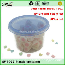 Eco-friendly factory price organic 5-pack 500ML 16ounce hard transparent plastic container for sweets
