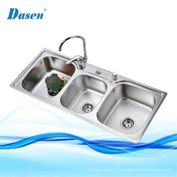 Vanités de salle de bains 3 gouttes profondes dans un évier en acier inoxydable avec drain