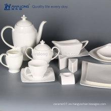 La nueva insignia blanca pura del diseño de la venta entera modifica el sistema de té de cerámica blanco llano del sistema de té de cerámica