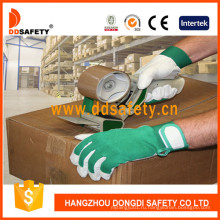 Кожаные перчатки из свиной кожи с зеленой эластичной манжетой для кожзаменителей DLP414