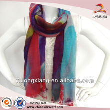 Hand painted woven cashmere scarf