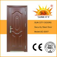 Porta de aço do metal da segurança do estilo de cobre do balanço com batente (SC-S007)