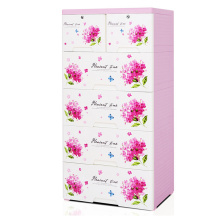 Fashion Flower Printed Plastic Storage Drawer Cabinet (HW-L708)