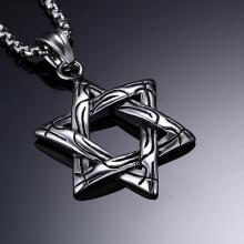 Top qualité mode bijoux en acier inoxydable Six pointes star pendentif