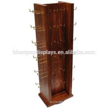 Suporte de gancho de contador assegurado de qualidade para chaveiros, 4-Way Roating Display Solid Wood Keyrring Stand