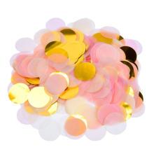 Papel redondo y confeti metálico rosa y dorado