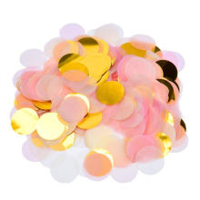 Round Paper and Pink and Gold Metallic Confetti