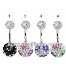 Stainless Steel Jewelry Crystal Epoxy Belly Piercing