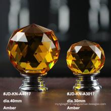 Bouton Cristal Ambre 40mm pour Meubles Blancs