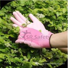 SRSAFETY розовые цветные перчатки pu / 13ga полиэстер PU пальмовое пальто перчатки рабочие перчатки