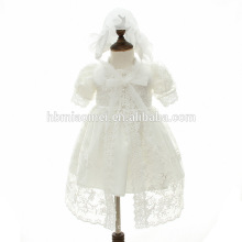 Kids Party Sleeveless Mid-Calf Frocks with Embroidery Flower Net Yarn Cape Baptism Dress with Hat Kids Casual Baby Girl Dresses