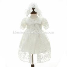 Дети платье без рукавов середины икры платья с цветок вышивка чистая Пряжа Мыс Крещение платье с шляпа дети свободного покроя девочка платья