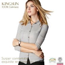 JS-16006 com bolsos e coleira 100% cashmere cardigan design camisola feminina