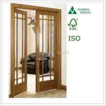 Composite Tmber Interal Glazed French Wooden Door