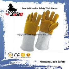 Guante de trabajo de soldadura industrial de piel de vaca de cuero de vaca