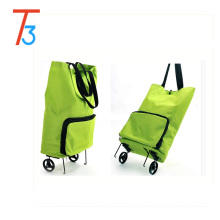 With Wheels Canvas Collapsible Reusable Foldable Rolling Shopping Bag