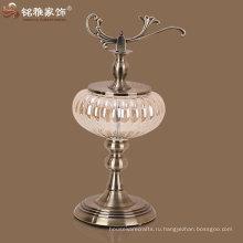 высокое качество новый дизайн тыква форма стеклянная ваза с металлической подставке