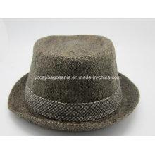 Шерсть войлочная волшебная шляпа; Мужская шерстяная клетчатая верхняя шапка