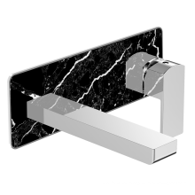 Beautiful design golden brass chrome waterfall wall mounted bathroom basin faucet mixers with Black Marble Decoration