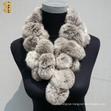 2016 Factory Price Rabbit Fur Ball Shawl Rabbit Fur Scarf With Pom Poms