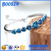 Fashion Sapphire Crystal Heart Bangle
