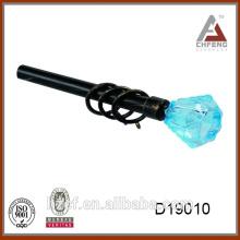 D19010 barra de cortina de cristal / barra de cortina de cristal / barra de cortina negra barra de cortina extensible de 16 / 19mm pintada