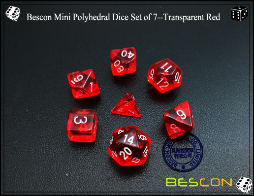 Bescon Mini Polyhedral Dice Set of 7--Transparent Red-3