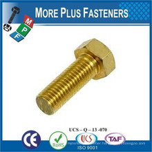Made in Taiwan Metric Solid Brass Hexagon Head Fully Threaded Bolts