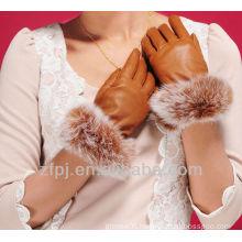 luxuriant style leather rabbit fur cuff glove