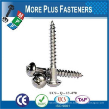 Made in Taiwan Cross Recessed Round Head Wood Screw Phillips DIN 7996 H Steel Zinc Plated