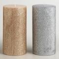 metal paint column wax unscented smoke-free pillar candle