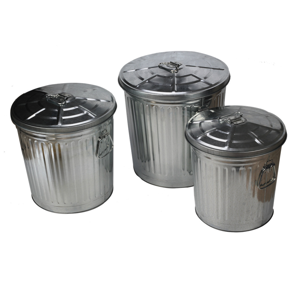 55l Silver Outdoor Trash Can For Garden