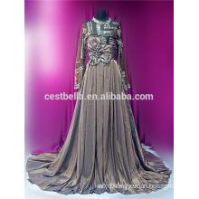 Latest design top quality China factory custom muslim Grey bridal wedding dress