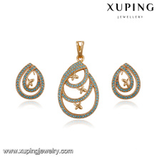 64197 factory directe wholesale fashion delicate turkish style diamond gold plated jewelry sets