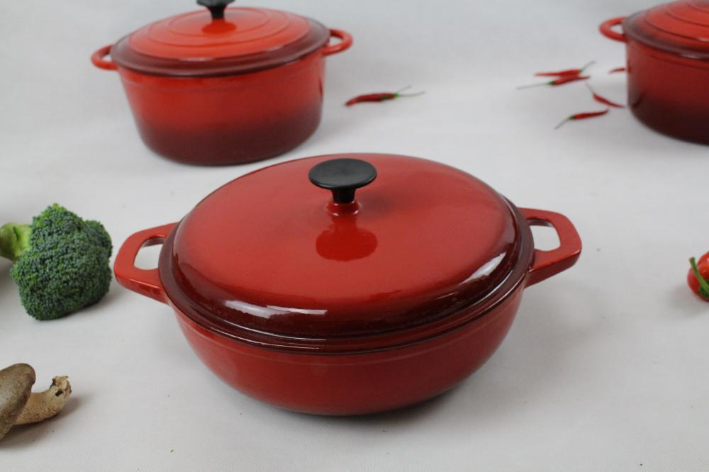 Round red enamel cookware pot