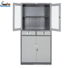Half glass half steel door office furniture storage cabinet designs