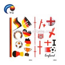 Bandeiras nacionais da bandeira da Taça do mundo de 2018 que Tattoo a etiqueta provisória do corpo dos esportes de futebol
